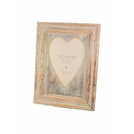 Heart Frame Lime Wash 5in x 7in