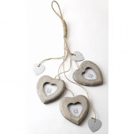 3 Hanging Heart Photo Frame