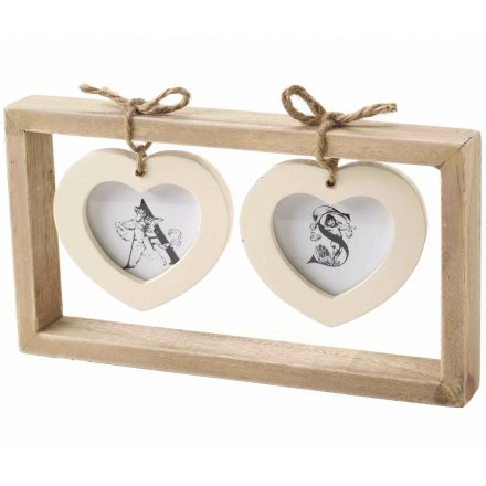 Twin Cream Hanging Hearts Photo Frame