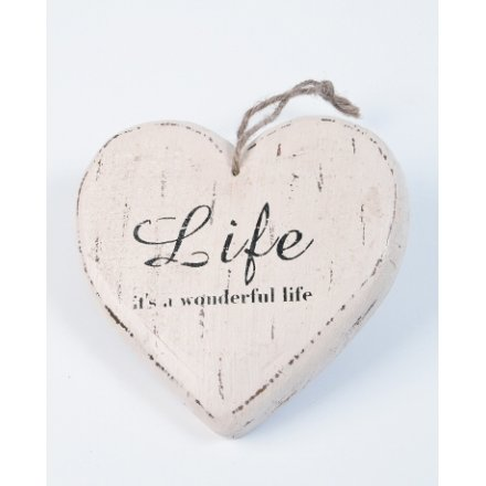 Large Hanging Cream Wooden Heart Life