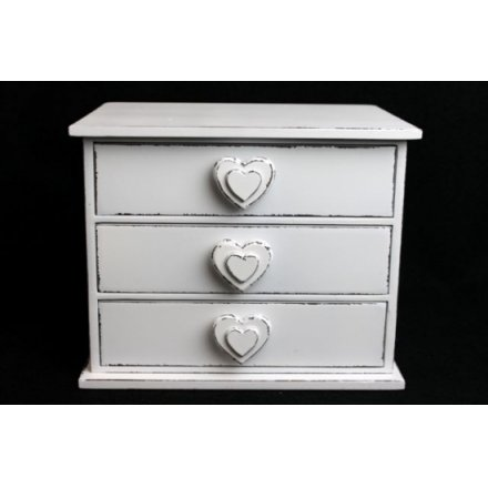 Double Heart 3 Drawer Jewel Box