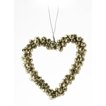 Gold Metal Bells Heart Hanger