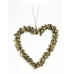 Glitz and Glamour. Gold Metal Bells Heart Hanger.