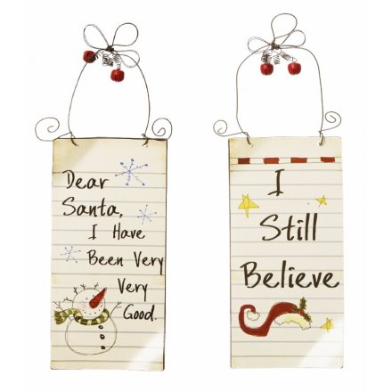 Small Dear Santa Signs 2 Asstd