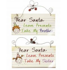 Comical Christmas decorative signs for rival siblings.