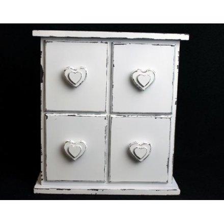 Double Heart 4 Drawer Jewellery Box
