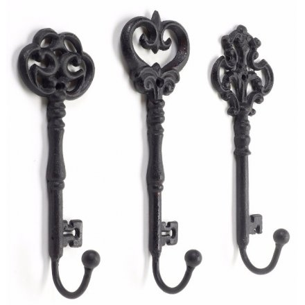 Metal Key Hooks, 3 Assorted