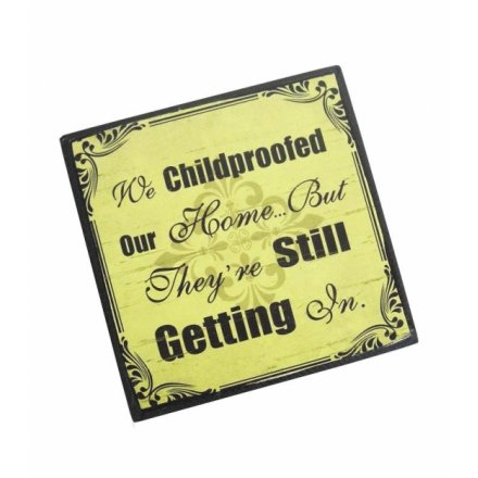 """We child-proofed our home but they're still getting in"" vintage style comic magnet"