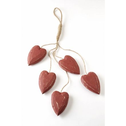 Five Hanging Red Hearts