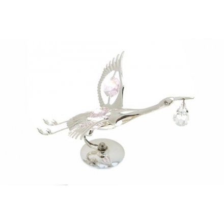 Silver Plate Crystal Stork Pink