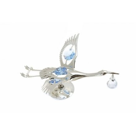 Silver Plate Crystal Stork Blue