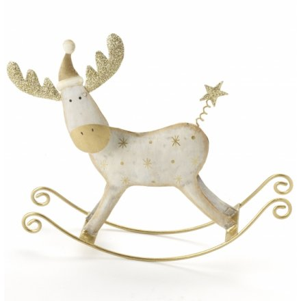 Cream Metal Rocking Reindeer 17cm