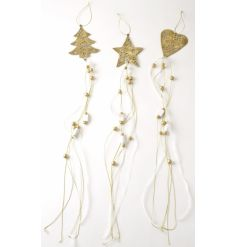 Three assorted ornate gold decorations with long beaded ribbon trains