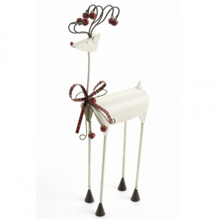 White Metal Reindeer With Bow 30cm