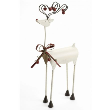Medium White Metal Reindeer With Bow 36cm