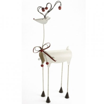 Large White Metal Reindeer With Bow