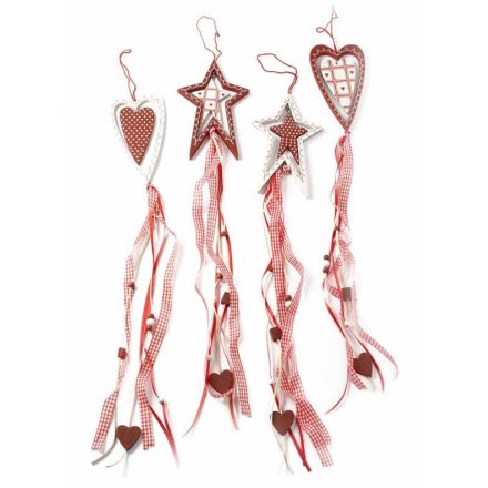 Wooden Hearts & Stars Ribbon Hanger (4)