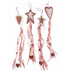 Four assorted festive hanging decrations with gingham ribbon