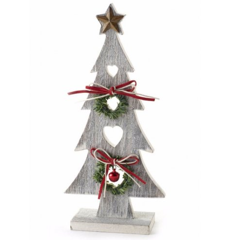 A wonderfully rustic grey washed wooden Christmas tree with an abundance of Christmas features
