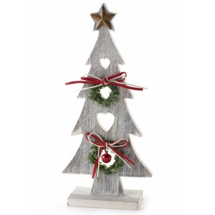 Wooden Tree With Star, 22cm