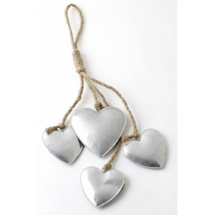 Four Hanging Tin Hearts 32cm