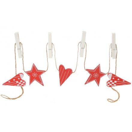 Wooden Heart and Star Peg Garland