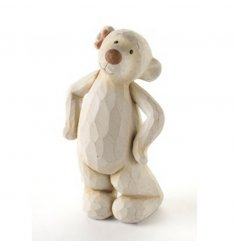 Bashful girl bear with rough-cut shabby chic finish and bow