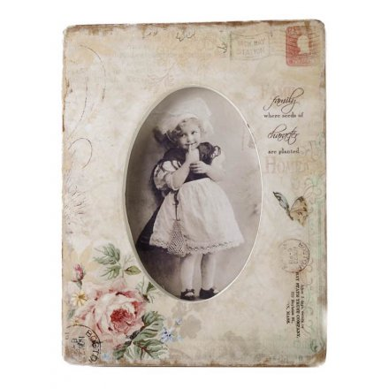 Gorgeous ornate shabby chic photo frame 'family; where seeds of character are sewn'