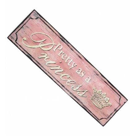 Vintage Style Pink Wooden Princess Sign