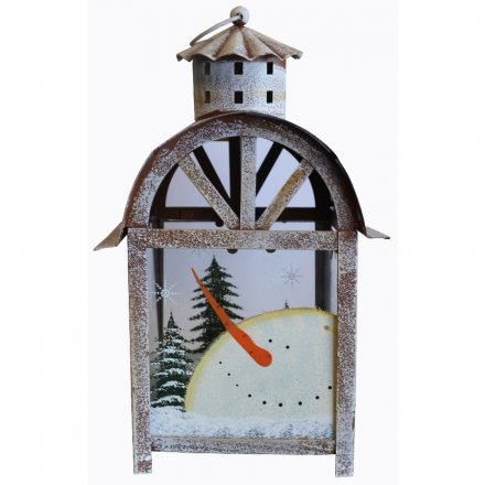 Tall Painted Metal Snowman Lantern