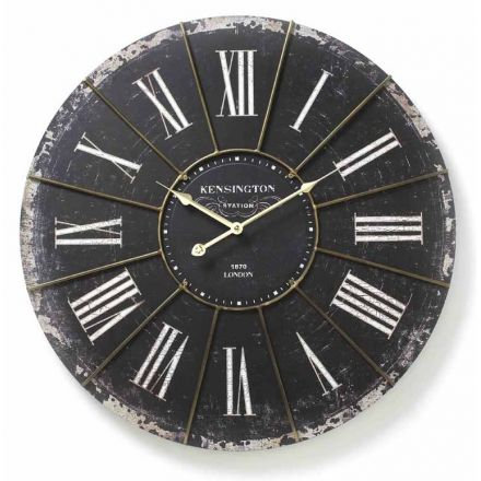 Large Antiqued Black Wall Clock