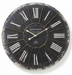 Large black and white vintage style wall clock with an antique finish and roman numerals