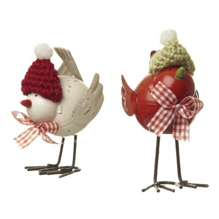Metal Birds With Knitted Hats 2a