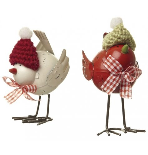 Rustic metal birds with cute knitted pompom hats and gingham bows.