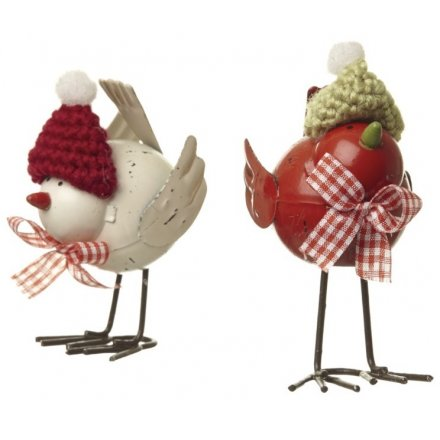 Two Assorted Metal Birds With Knitted Hats, 11cm