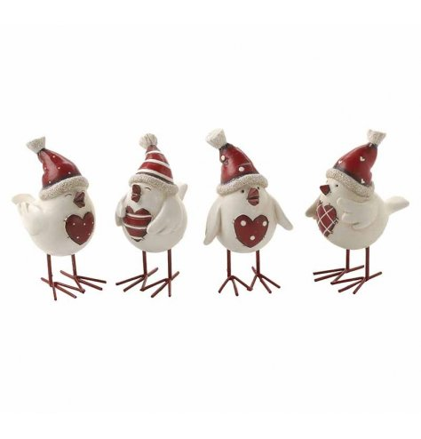 Cute Christmas birds with Santa hats and red heart shaped chests. The assortment includes stripe and polkadot designs.