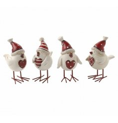 A festive assortment of chirpy Winter birds dressed up in hats and scarves