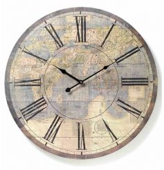 Large distressed cream atlas wall clock