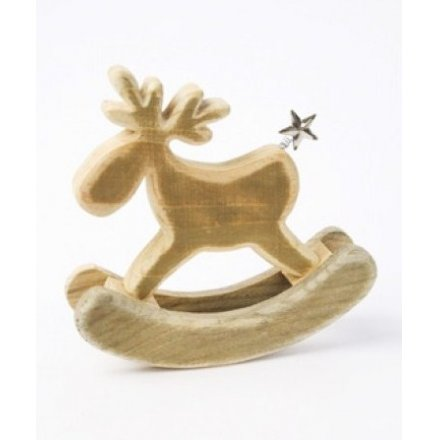 Wooden festive moose ornament with silver star tail