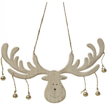 Cream Wood Hanging Moose Head With Bells 22cm