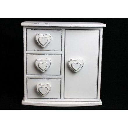 Double Heart 3 Drawer & Door Jewel Box