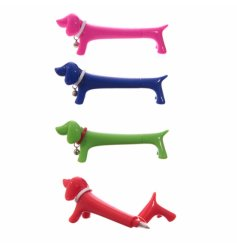 Funny sausage dog themed writing pens, in an assortment of colours