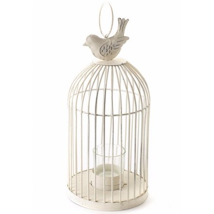 Medium T-Light Cage With Bird On Top Cream