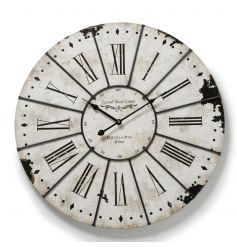 Large wall clock in a classic white colour with a distressed and antique finish