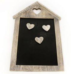A natural wooden chalkboard featuring heart shaped magnets and a house inspired look