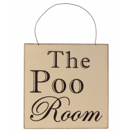 The Poo Room Wooden Sign