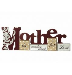 Wooden patchwork sign reading 'Mother Is Another Word For Love' L37cm
