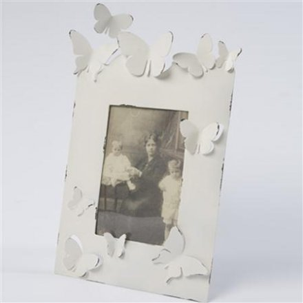 Large Cream and Zinc Butterfly Photo Frame