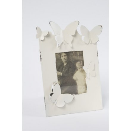 Small Cream and Zinc Butterfly Photo Frame