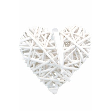 White Wicker Heart Decoration 15cm